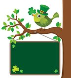 St Patricks Day theme board with bird