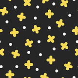 Seamless golden cross pattern in retro memphis style, fashion 80s - 90s. Abstract colored background