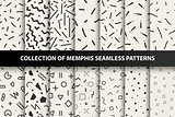 Set of memphis seamless patterns. Fashion 80-90s. You can find seamless backgrounds in swatches panel