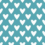 Tile vector pattern with white hearts on mint green background