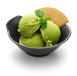 homemade matcha green tea ice cream, japanese dessert