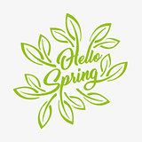Hello Spring green stylized inscription on a white background, badge typography icon. Lettering spring season with leaf for greeting card, invitation template. Retro, vintage lettering banner poster template background