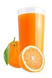 Fresh orange juices on white with fresh fruit