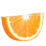 Isolated slice orange on white background