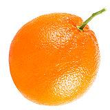 Orange fruit with leaf isolated on white