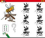 shadow activity game with cartoon insects