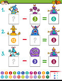 maths subtraction game with monster characters