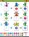 maths addition educational game with aliens