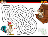 cartoon maze activity with rooster and hen