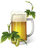 Beer mug, hops, vector