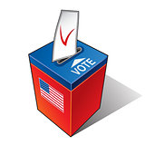 Ballot box with the flag of the USA