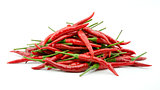 Stack of hot chili pepper or small chili padi, isolated on white