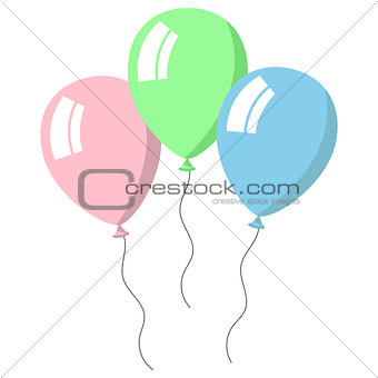 Three balloons pastel colors on white background