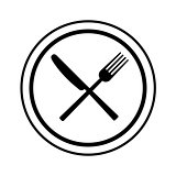 Fork and knife on plate background