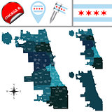 Map of Chicago with Community Areas