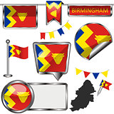 Glossy icons with flag of Birmingham