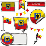 Glossy icons with flag of Bogota