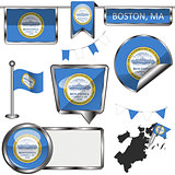 Glossy icons with flag of Boston