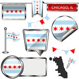Glossy icons with flag of Chicago