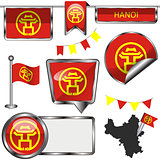 Glossy icons with flag of Hanoi