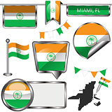 Glossy icons with flag of Miami, USA