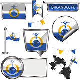 Glossy icons with flag of Orlando