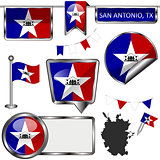 Glossy icons with flag of San Antonio