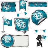 Glossy icons with flag of Seattle
