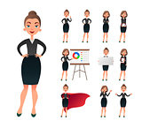 Pretty businesswoman working character set. Sucessful entrepreneur lady in office work situations. Confident young manager in the workplace.