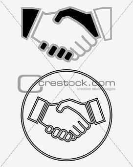 Business handshake solid icon