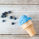 Top view blue ice cream