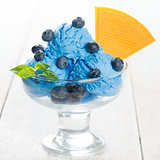 Blueberry ice cream in cup
