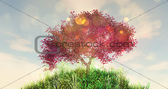 3D cherry tree on a grassy globe