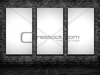 3D blank pictures in a grunge interior