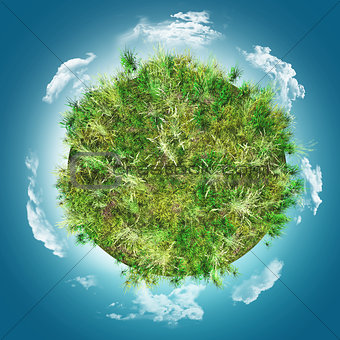 3D grassy globe against a blue cloudy sky