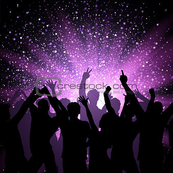 Party crowd on purple stars background