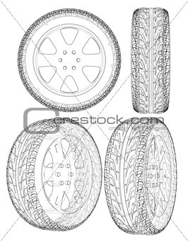 Car or truck tire drawing outline. Vector