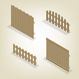 Set of isometric spans wooden fences, vector illustration.