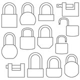 Icons of locks from thin lines, vector illustration.