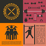 Flat design elements for gym and fitness, vector illustration.