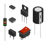 Set of different electronic components in 3D, vector illustration.