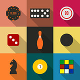 Game icons in a flat style with a long diagonal shadow, vector illustration.