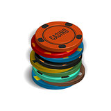 Stack of casino chips in 3D, vector illustration.
