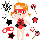 Cute cartoon superhero girl vector clip art set.