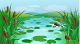 Blue river cartoon game background