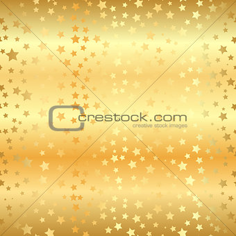 Abstract golden modern seamless pattern with gold stars. Vector illustration.Shiny background. Texture of gold foil. Golden seamless pattern