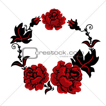 three red roses in a bouquet in Ukrainian style