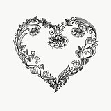 heart of flowers graphic tatto