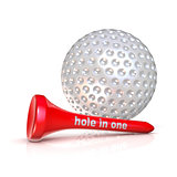 Golf ball and tee. Hole in one sign