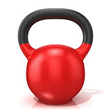 Red kettle bell weight, isolated on a white background. 3D